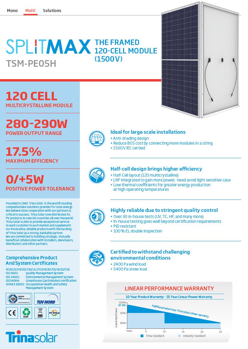 TRINA SOLAR SPLITMAX TSM-PE05H-280 – Seasolar